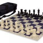 Conqueror Tournament Chess Set Package Black & Ivory – Blue