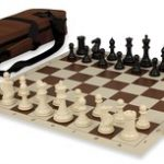 Conqueror Tournament Chess Set Package Black & Ivory – Brown