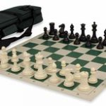 Conqueror Tournament Chess Set Package Black & Ivory – Green