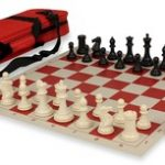 Conqueror Tournament Chess Set Package Black & Ivory – Red