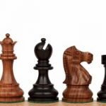 Deluxe Old Club Staunton Chess Set in Ebonized Boxwood & Golden Rosewood – 3.25″ King