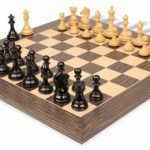 Fierce Knight Staunton Chess Set in Ebonized Boxwood & Boxwood with Tiger Ebony & Maple Deluxe Chess Board – 4″ King