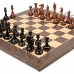 New Exclusive Staunton Chess Set in Ebonized Boxwood & Golden Rosewood with Tiger Ebony & Maple Chess Board – 3.5″ King