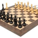 New Exclusive Staunton Chess Set in Ebony & Boxwood with Striped Tiger Ebony & Maple Chess Board – 4″ King