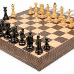 Yugoslavia Staunton Chess Set in Ebony & Boxwood with Tiger Ebony & Maple Deluxe Chess Board – 3.25″ King