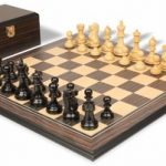 Deluxe Old Club Staunton Chess Set in Ebony & Boxwood with Tiger Ebony & Maple Molded Chess Board & Box – 3.75″ King