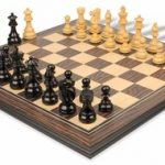 French Lardy Staunton Chess Set in Ebonized Boxwood & Boxwood withTiger Ebony & Maple Chess Board – 3.75″ King