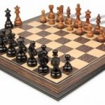 French Lardy Staunton Chess Set in Ebonized Boxwood & Golden Rosewood withTiger Ebony & Maple Chess Board – 3.25″ King