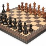 Parker Staunton Chess Set in Ebonized Boxwood & Golden Rosewood with Tiger Ebony & Maple Molded Chess Board – 3.25″ King