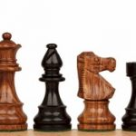 French Lardy Staunton Chess Set in Ebonized Boxwood & Golden Rosewood – 3.75″ King