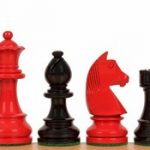 German Knight Staunton Chess Set in High Gloss Black & Red – 3.75″ King