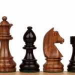 German Knight Staunton Chess Set in Ebonized Boxwood & Golden Rosewood – 3.75″ King