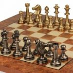 Staunton Brass Chess Set & Elm Burl Chess Board Package