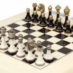 Black & White Metal Staunton Chess Set with White & Black High Gloss Chess Board