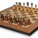 Brass & Wood Staunton Chess Set with Molded Walnut Board