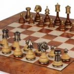 Classic Persian Staunton Brass & Wood Chess Set with Elm Root Board