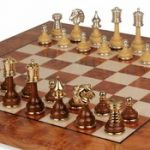 Classic Persian Staunton Gold, Siver, & Wood Chess Set with Elm Root Board