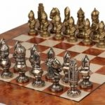 Medieval Brass Chess Set & Elm Burl Chess Board Package