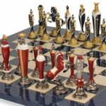 Renaissance Theme Chess Set in Brass & Nickel & Hand Painted with Deluxe Chess Board