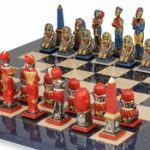 Egyptian Theme Chess Set Brass & Nickel Hand Painted Pieces with Blue Ash Burl Chess Board