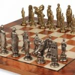 Caesar Brass Chess Set & Elm Burl Chess Board Package