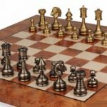 Grande Persian Staunton Brass Chess Set with Elm Root Board