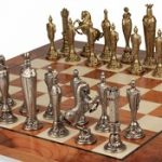 Renaissance Theme Chess Set Brass & Nickel Pieces with Elm Burl Chess Board