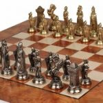 Mary Stuart Queen of Scots Theme Chess Set Brass & Nickel Pieces with Elm Burl Chess Board