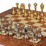 Gold & Sliver Plated Staunton Chess Set & Elm Burl Chess Board Package