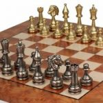 Brass Staunton Chess Set & Elm Burl Chess Board Package