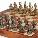 Samurai Theme Chess Set Brass & Nickel Pieces with Elm Burl Chess Board