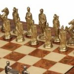 Romans & Barbarians Theme Chess Set Brass & Nickel Pieces with Elm Burl Chess Board