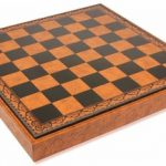 Brown & Black Leatherette Chess Case – 2″ Squares