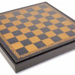 Italfama Blue & Gold Leatherette Chess Board & Tray – 1.75″ Squares