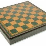 Italfama Green & Gold Leatherette Chess case – 1.75″ Squares