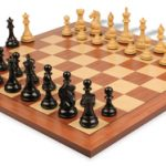 Fierce Knight Staunton Chess Set in Ebonized Boxwood & Boxwood with Mahogany & Maple Chess Board – 4″ King