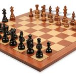 French Lardy Staunton Chess Set in Ebonized Boxwood & Golden Rosewood with Mahogany & Maple Chess Board – 3.25″ King