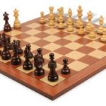 French Lardy Staunton Chess Set in Rosewood & Boxwood with Standard Mahogany Chess Board – 3.75″ King