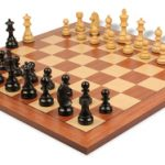 German Knight Staunton Chess Set in Ebonized Boxwood with Mahogany Chess Board – 3.25″ King