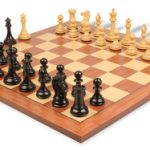 New Exclusive Staunton Chess Set in Ebonized Boxwood with Mahogany & Maple Chess Board  – 4″ King