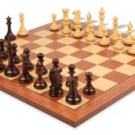 New Exclusive Staunton Chess Set Rosewood & Boxwood with Mahogany and Maple Chess Board – 3.5″ King