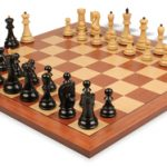 Yugoslavia Staunton Chess Set in Ebonized Boxwood with Mahogany & Maple Chess Board – 3.25″ King