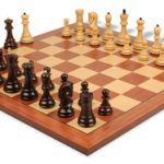 Yugoslavia Staunton Chess Set in Rosewood & Boxwood with Mahogany & Maple Chess Board – 3.25″ King