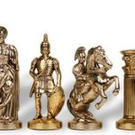 Archers Theme Chess Set Brass & Nickel Pieces – 3.75″ King