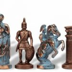Archers Theme Chess Set Antiqued Blue Copper & Copper Pieces – 3.75″ King