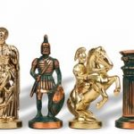 Archers Theme Chess Set Antiqued Green Copper & Brass Pieces – 3.75″ King