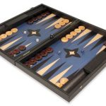 Manopoulos Blue Wood Backgammon Set – Large