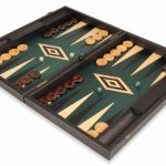 Manopoulos Black & Green Wood Backgammon Set – Large