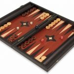 Manopoulos Black & Cherry Wood Backgammon Set – Medium