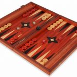 Manopoulos Padauk Wood Backgammon Set – Medium